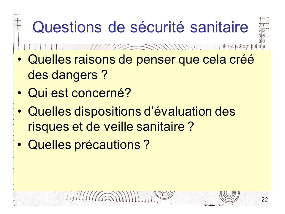 22 Questions de sécurité sanitaire Quelles raisons de penser que cela créé des dangers ? Qui est concerné? Quelles dispositions dévaluation des risque