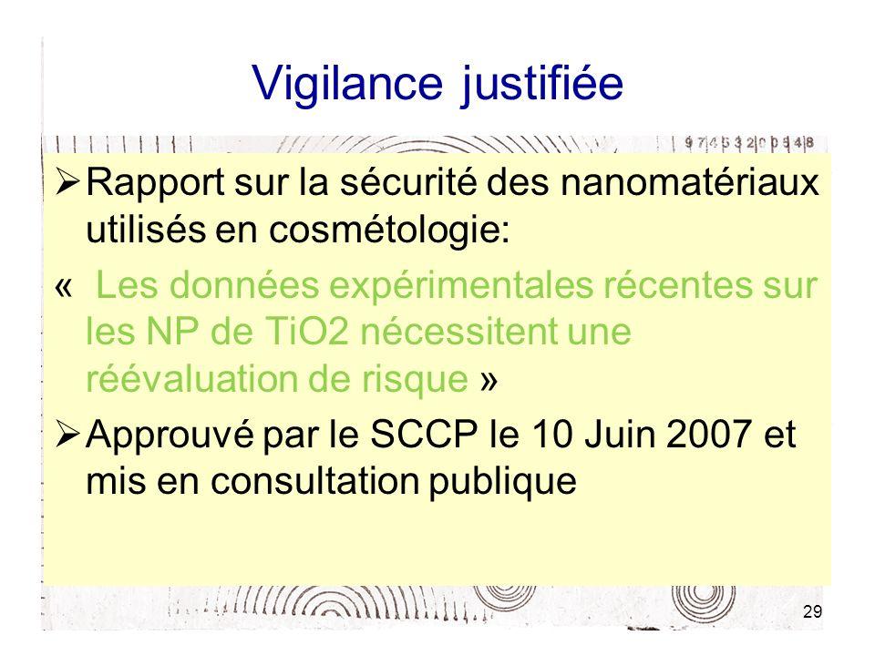 29 Vigilance justifiée Rapport sur la sécurité des nanomatériaux utilisés en cosmétologie: « Les données expérimentales récentes sur les NP de TiO2 né