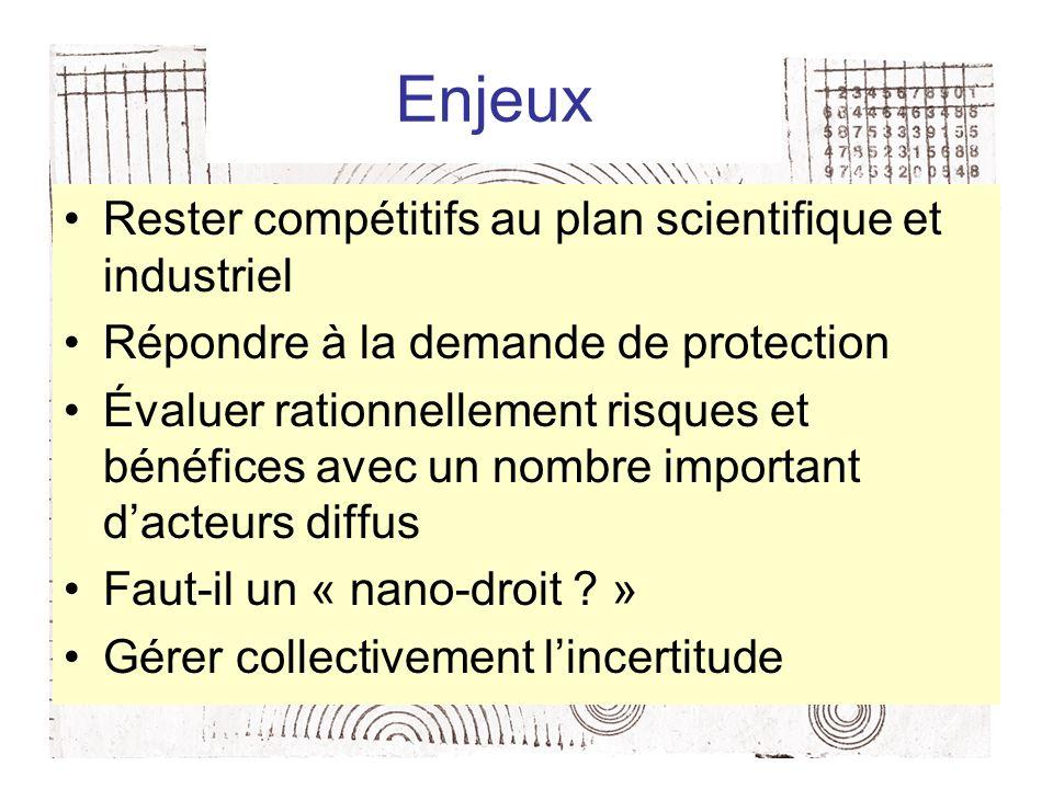 Enjeux Rester compétitifs au plan scientifique et industriel Répondre à la demande de protection Évaluer rationnellement risques et bénéfices avec un