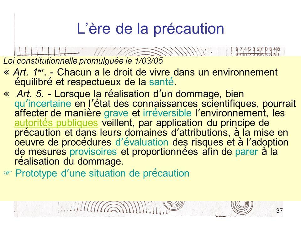 37 Lère de la précaution Loi constitutionnelle promulguée le 1/03/05 « Art. 1 er. - Chacun a le droit de vivre dans un environnement é quilibr é et re