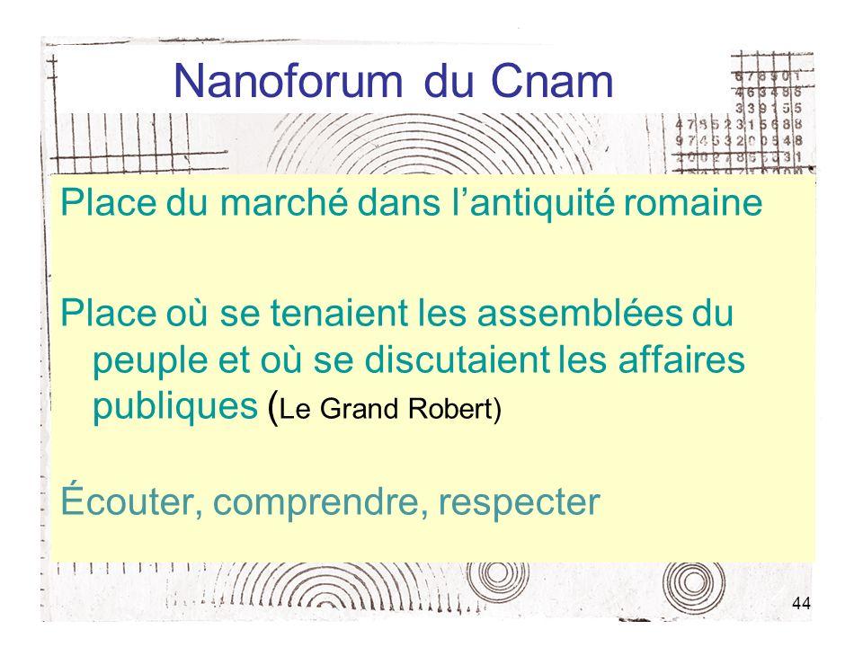 44 Nanoforum du Cnam Place du marché dans lantiquité romaine Place où se tenaient les assemblées du peuple et où se discutaient les affaires publiques