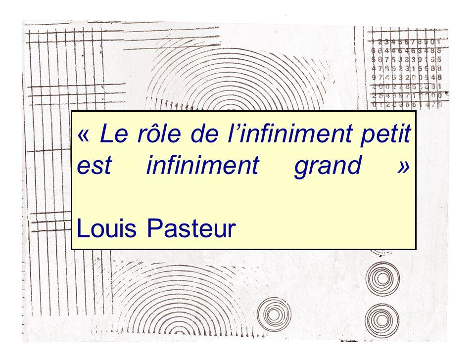 « Le rôle de linfiniment petit est infiniment grand » Louis Pasteur