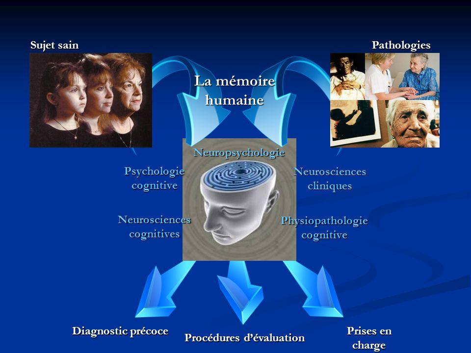 Psychologie cognitive Neurosciences cognitives Neurosciences cliniques Physiopathologiecognitive Diagnostic précoce Procédures dévaluation Prises en charge Neuropsychologie La mémoire humaine Sujet sain Pathologies