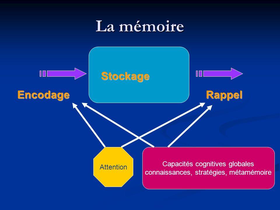 La mémoire EncodageRappel Stockage Attention Capacités cognitives globales connaissances, stratégies, métamémoire