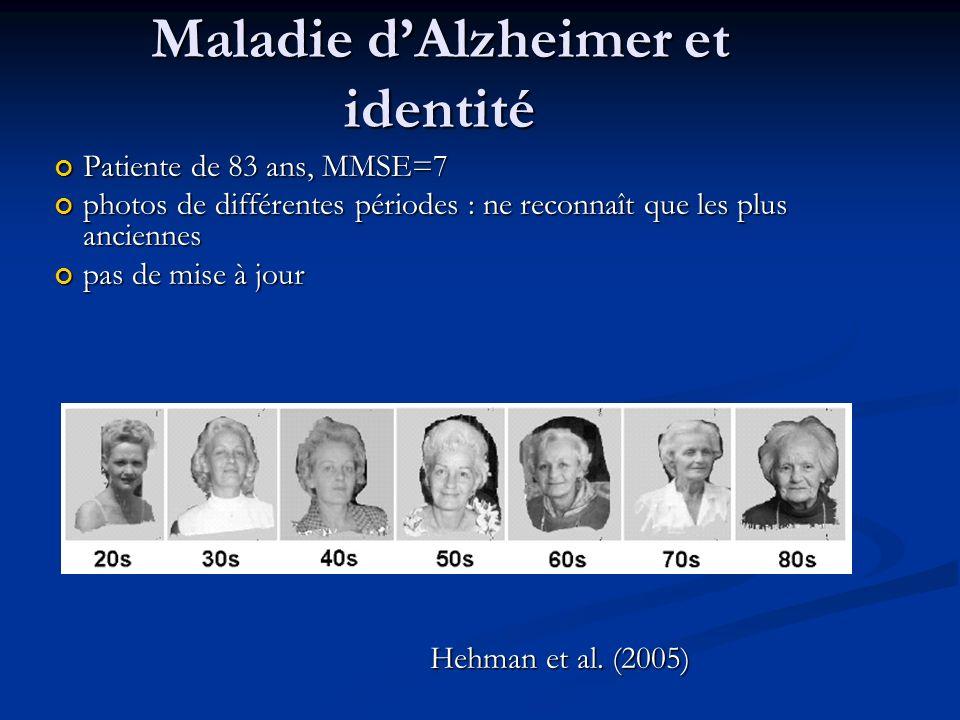 Maladie dAlzheimer et identité Patiente de 83 ans, MMSE=7 Patiente de 83 ans, MMSE=7 photos de différentes périodes : ne reconnaît que les plus anciennes photos de différentes périodes : ne reconnaît que les plus anciennes pas de mise à jour pas de mise à jour Hehman et al.
