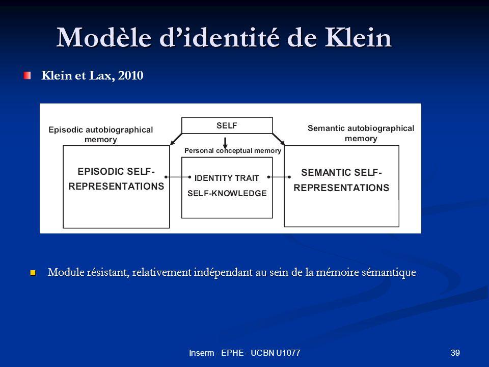 Modèle didentité de Klein Module résistant, relativement indépendant au sein de la mémoire sémantique Module résistant, relativement indépendant au sein de la mémoire sémantique 39Inserm - EPHE - UCBN U1077 Klein et Lax, 2010