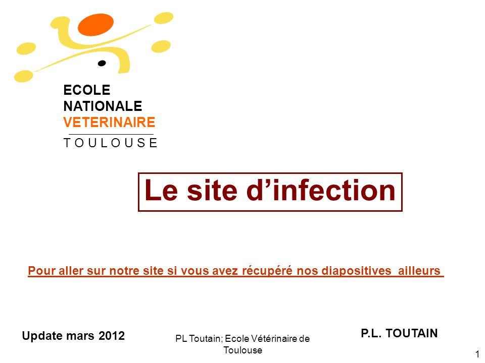 PL Toutain; Ecole Vétérinaire de Toulouse 2 Les 3 questions auxquelles on doit répondre avant dentreprendre une antibiothérapie 1.Où se trouve le site daction de lantibiotique (biophase) 2.Où est localisé le pathogène: en intra- ou en extracellulaire .