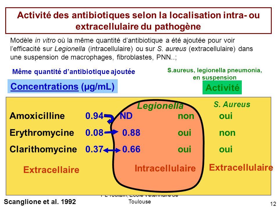 PL Toutain; Ecole Vétérinaire de Toulouse 12 Activité des antibiotiques selon la localisation intra- ou extracellulaire du pathogène Même quantité dan