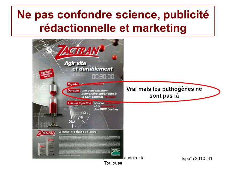 PL Toutain; Ecole Vétérinaire de Toulouse Ispaïa 2010 -31 Ne pas confondre science, publicité rédactionnelle et marketing Vrai mais les pathogènes ne