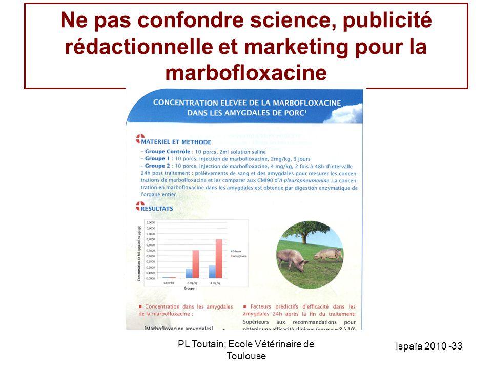 PL Toutain; Ecole Vétérinaire de Toulouse Ispaïa 2010 -33 Ne pas confondre science, publicité rédactionnelle et marketing pour la marbofloxacine