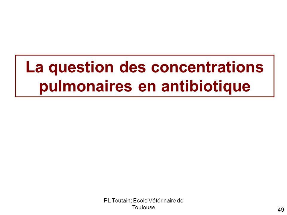 PL Toutain; Ecole Vétérinaire de Toulouse 49 La question des concentrations pulmonaires en antibiotique