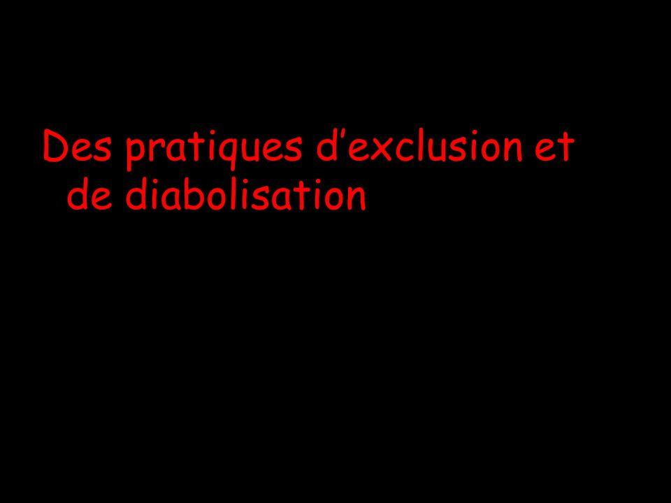 Des pratiques dexclusion et de diabolisation