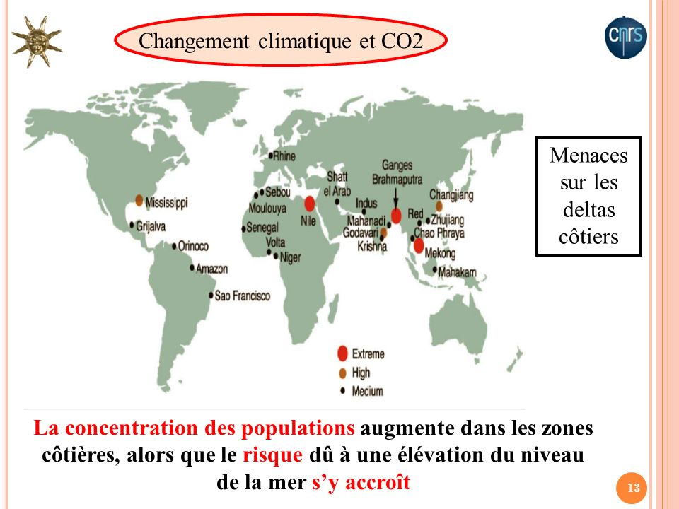 13 La concentration des populations augmente dans les zones côtières, alors que le risque dû à une élévation du niveau de la mer sy accroît Menaces su