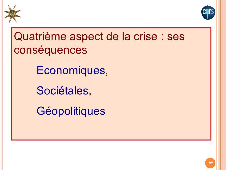 22 Quatrième aspect de la crise : ses conséquences Economiques, Sociétales, Géopolitiques