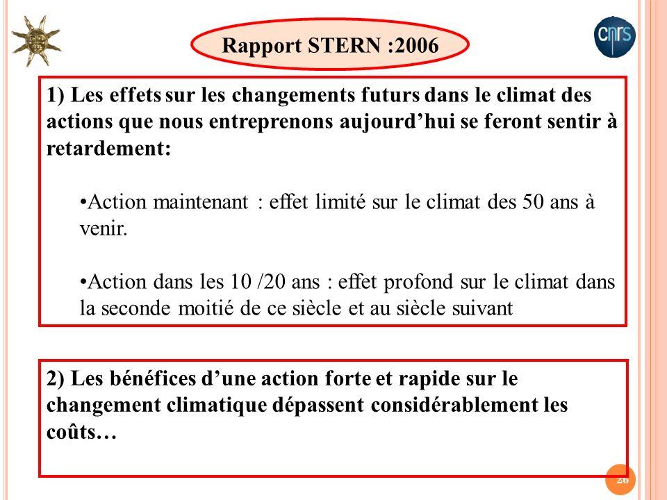 26 1) Les effets sur les changements futurs dans le climat des actions que nous entreprenons aujourdhui se feront sentir à retardement: Action mainten