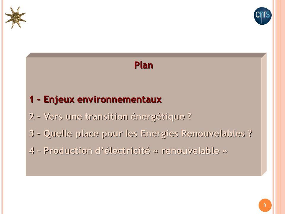 3 Plan 1 – Enjeux environnementaux 2 – Vers une transition énergétique ? 3 – Quelle place pour les Energies Renouvelables ? 4 – Production délectricit