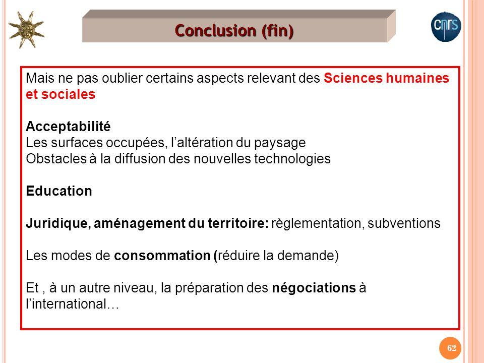 62 Conclusion (fin) Mais ne pas oublier certains aspects relevant des Sciences humaines et sociales Acceptabilité Les surfaces occupées, laltération d