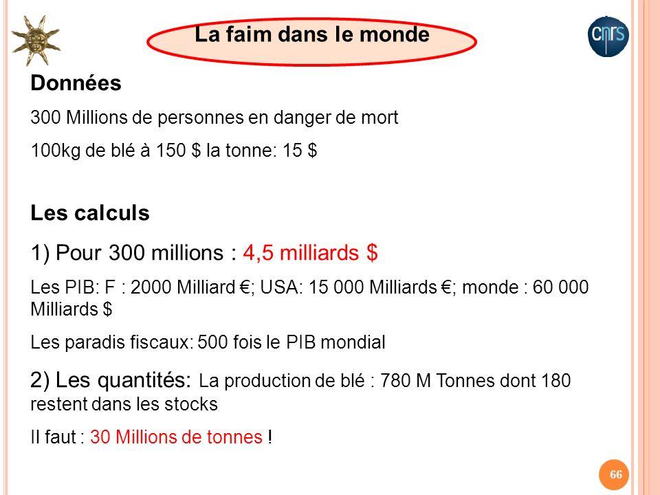 66 Données 300 Millions de personnes en danger de mort 100kg de blé à 150 $ la tonne: 15 $ La faim dans le monde Les calculs 1) Pour 300 millions : 4,