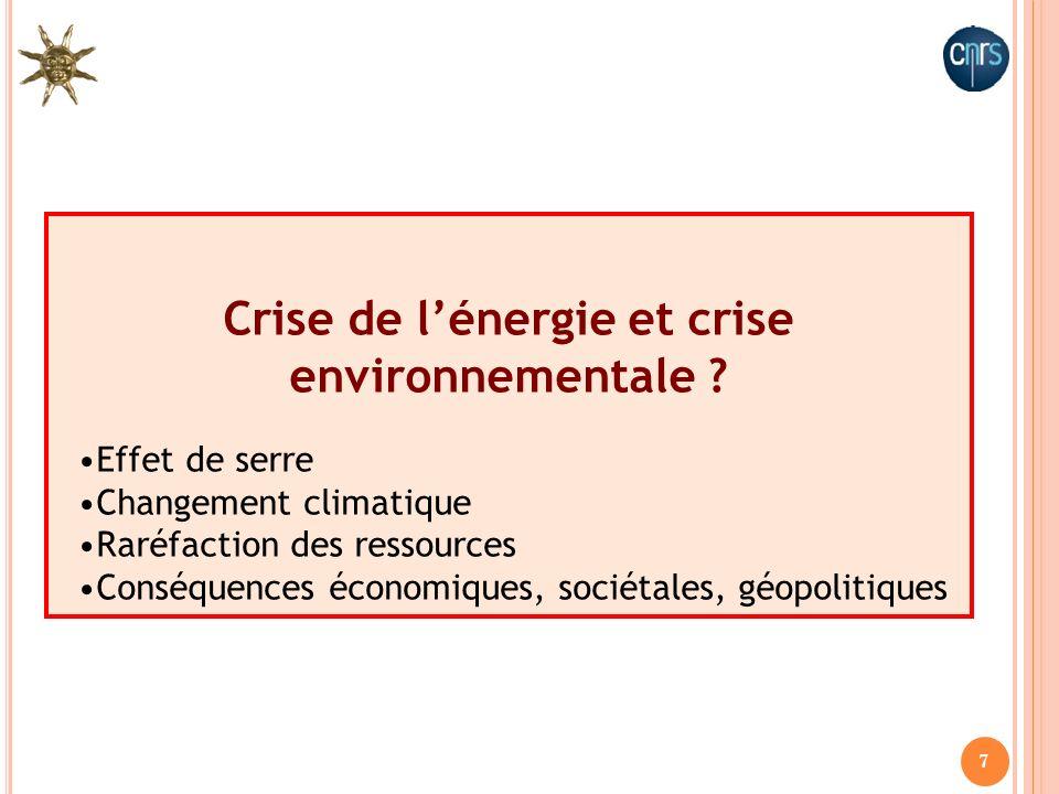 7 Crise de lénergie et crise environnementale ? Effet de serre Changement climatique Raréfaction des ressources Conséquences économiques, sociétales,