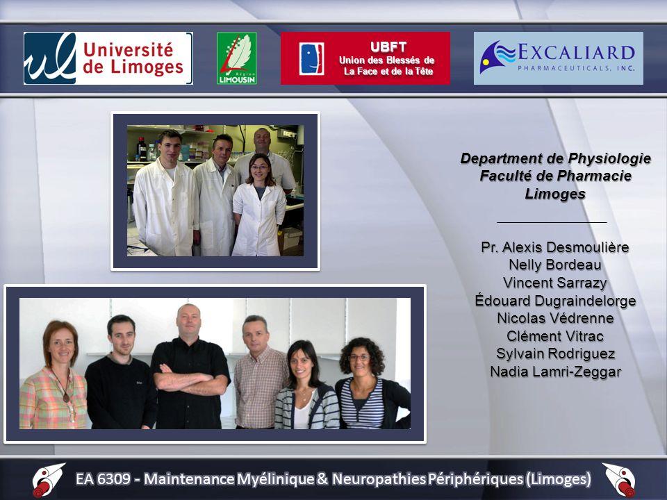 Department de Physiologie Faculté de Pharmacie Limoges Pr. Alexis Desmoulière Nelly Bordeau Vincent Sarrazy Édouard Dugraindelorge Nicolas Védrenne Cl