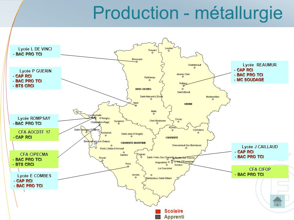 Production - métallurgieScolaireApprenti Lycée J CAILLAUD - CAP RCI - BAC PRO TCI CFA CIFOP - BAC PRO TCI Lycée REAUMUR - CAP RCI - BAC PRO TCI - MC S