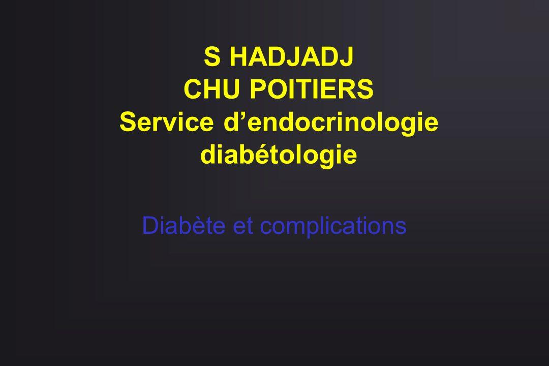 S HADJADJ CHU POITIERS Service dendocrinologie diabétologie Diabète et complications