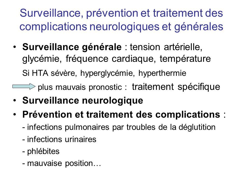 Surveillance, prévention et traitement des complications neurologiques et générales Surveillance générale : tension artérielle, glycémie, fréquence ca