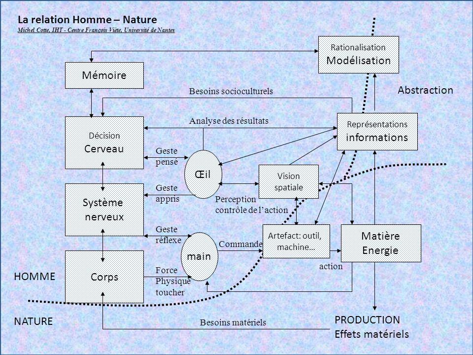 Décision Cerveau Système nerveux Corps Œil main Matière Energie PRODUCTION Effets matériels Vision spatiale HOMME NATURE Représentations informations