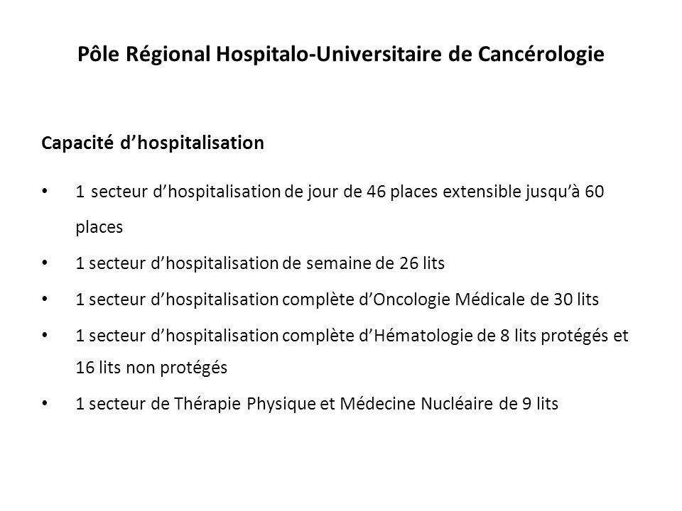 Pôle Régional Hospitalo-Universitaire de Cancérologie Capacité dhospitalisation 1 secteur dhospitalisation de jour de 46 places extensible jusquà 60 p