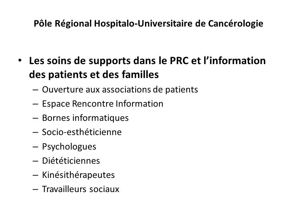 Pôle Régional Hospitalo-Universitaire de Cancérologie Les soins de supports dans le PRC et linformation des patients et des familles – Ouverture aux a