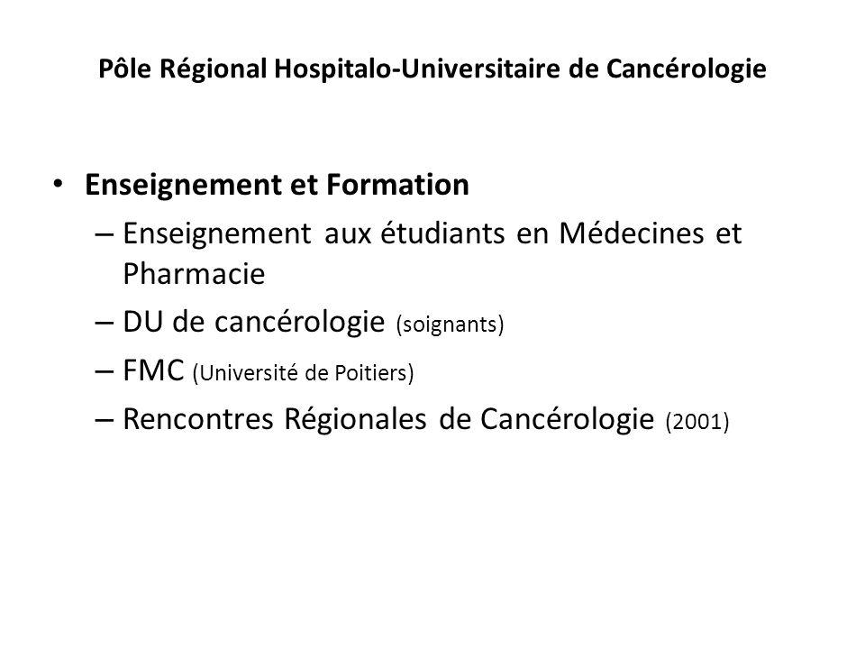 Pôle Régional Hospitalo-Universitaire de Cancérologie Enseignement et Formation – Enseignement aux étudiants en Médecines et Pharmacie – DU de cancéro