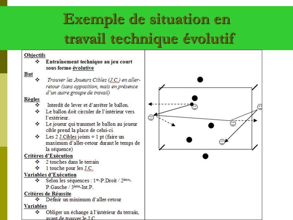 Exemple de situation en travail technique évolutif