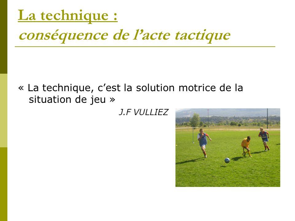 La technique : conséquence de lacte tactique « La technique, cest la solution motrice de la situation de jeu » J.F VULLIEZ
