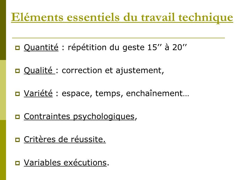 Eléments essentiels du travail technique Quantité : répétition du geste 15 à 20 Qualité : correction et ajustement, Variété : espace, temps, enchaînem
