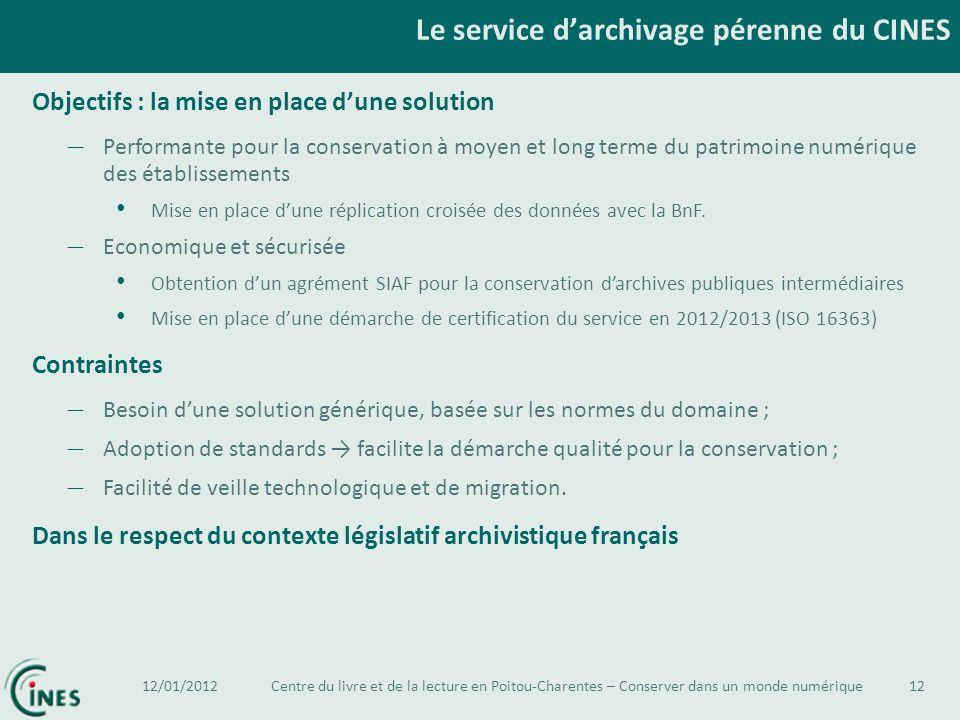 Le service darchivage pérenne du CINES 12 Objectifs : la mise en place dune solution – Performante pour la conservation à moyen et long terme du patri