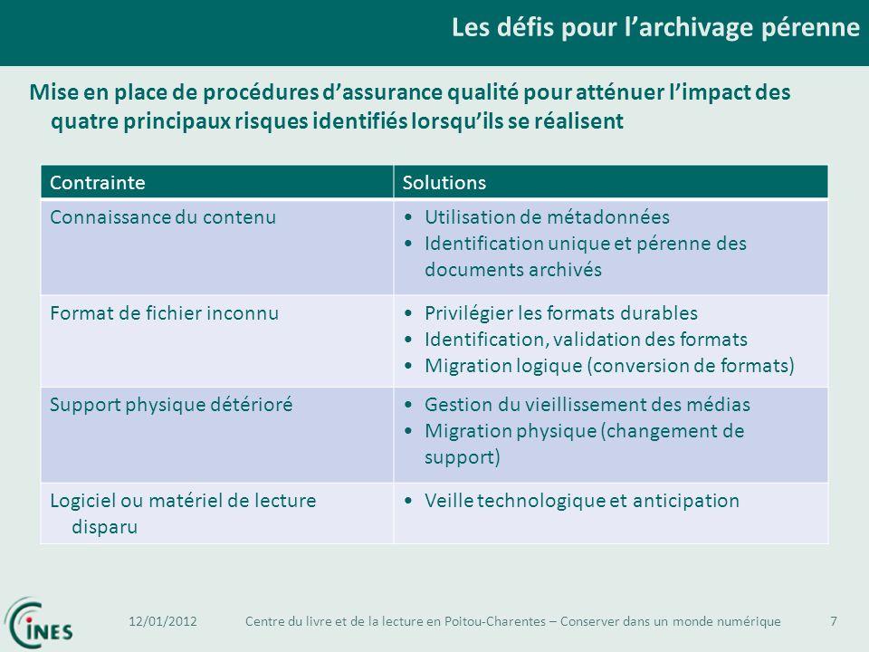 Les défis pour larchivage pérenne 7 Mise en place de procédures dassurance qualité pour atténuer limpact des quatre principaux risques identifiés lors