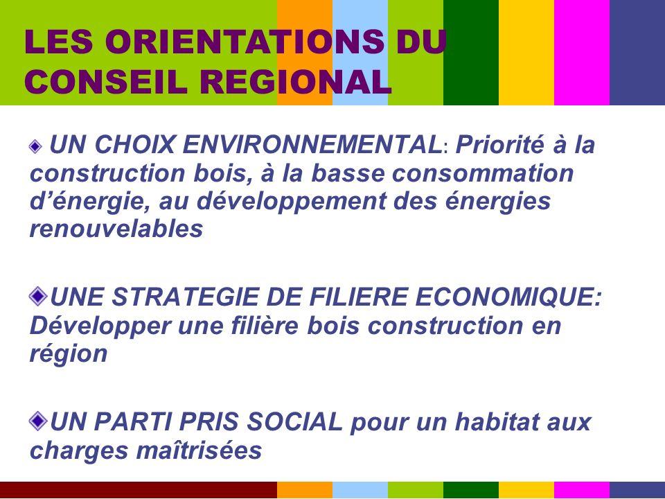 UN CHOIX ENVIRONNEMENTAL : Priorité à la construction bois, à la basse consommation dénergie, au développement des énergies renouvelables UNE STRATEGI
