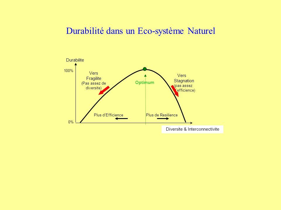 Durabilite Vers Stagnation (pas assez defficience) Vers Fragilite (Pas assez de diversite) Plus dEfficience Plus de Resilience Diversite & Interconnectivite Optimum 100% 0% Durabilité dans un Eco-système Naturel