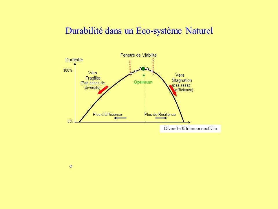 Durabilite Vers Stagnation (pas assez defficience) Vers Fragilite (Pas assez de diversite) Plus dEfficience Plus de Resilience Diversite & Interconnectivite Optimum 100% 0% Durabilité dans un Eco-système Naturel Fenetre de Viabilite