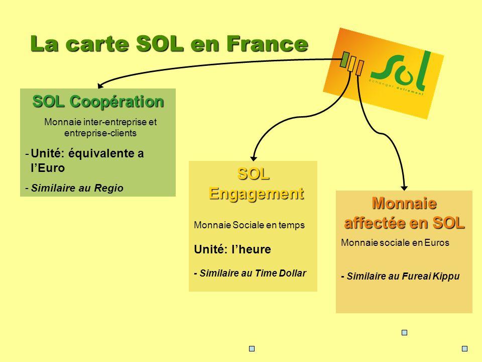 La carte SOL en France SOL Coopération Monnaie inter-entreprise et entreprise-clients -Unité: équivalente a lEuro -Similaire au Regio SOL Engagement M