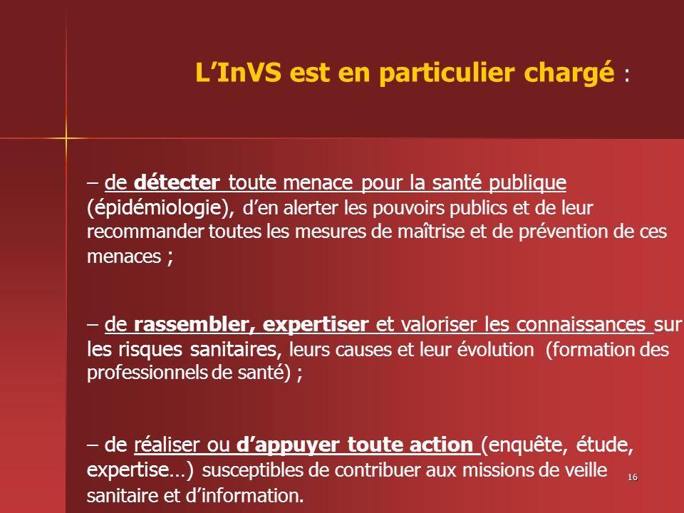16 LInVS est en particulier chargé : – de détecter toute menace pour la santé publique (épidémiologie), den alerter les pouvoirs publics et de leur re