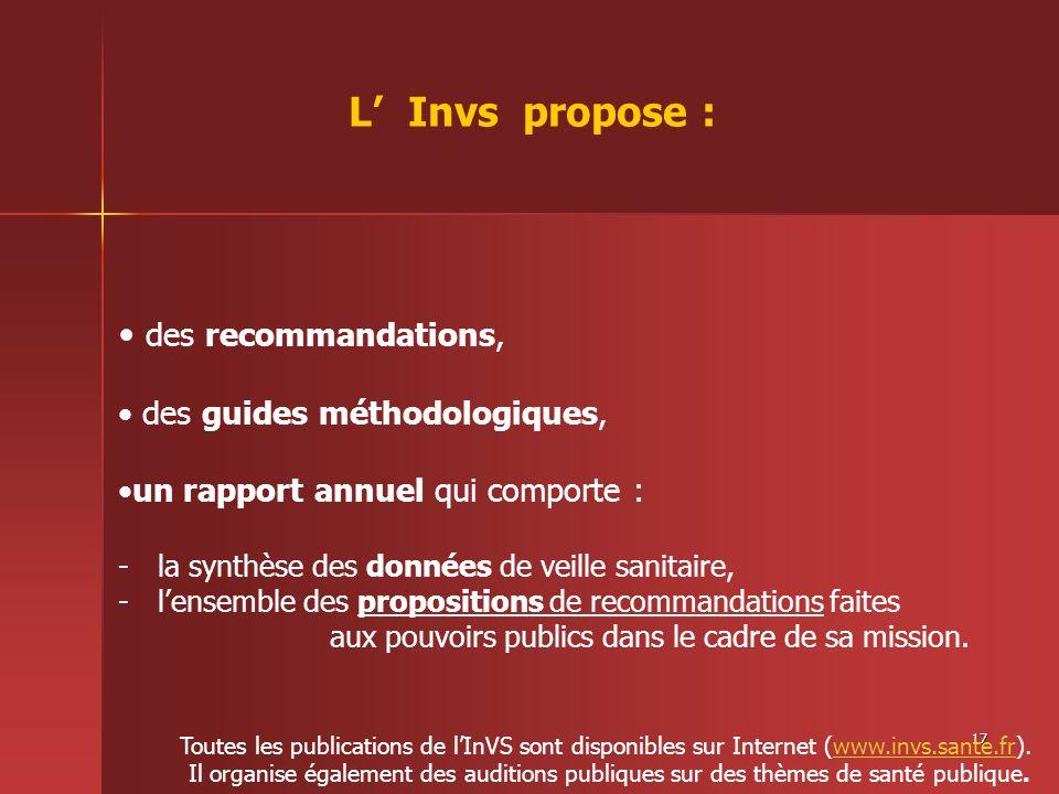 17 des recommandations, des guides méthodologiques, un rapport annuel qui comporte : -la synthèse des données de veille sanitaire, -lensemble des prop