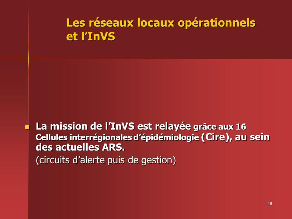18 Les réseaux locaux opérationnels et lInVS La mission de lInVS est relayée grâce aux 16 Cellules interrégionales dépidémiologie (Cire), au sein des