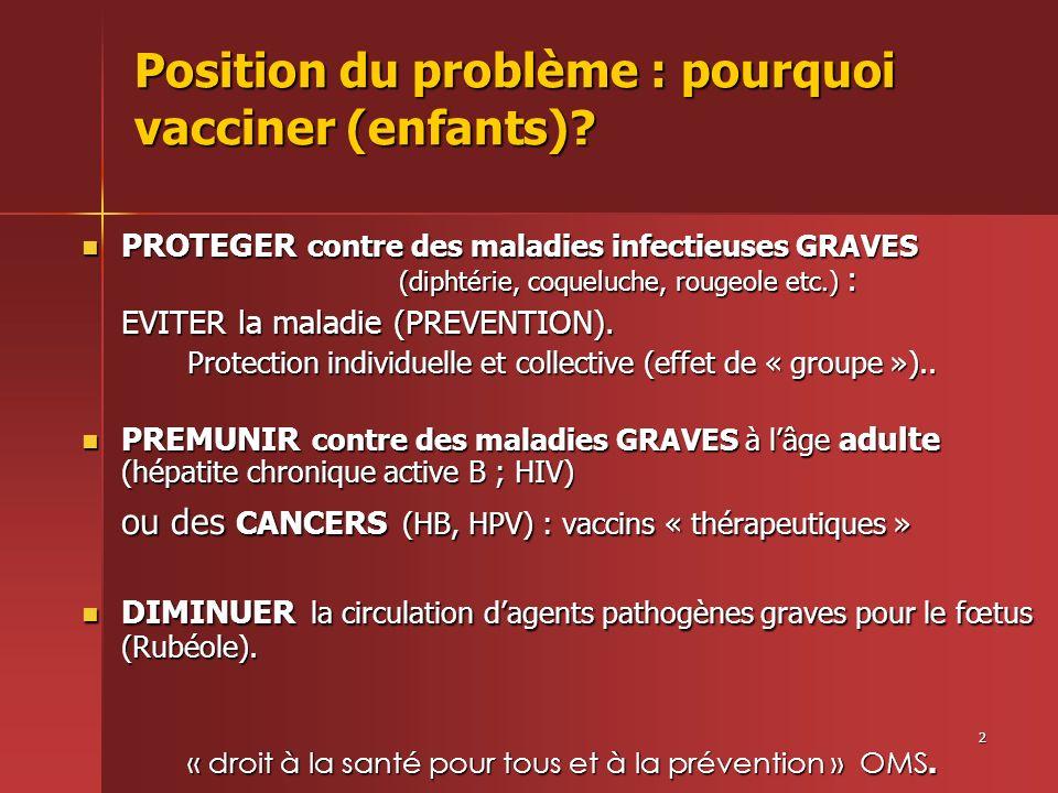 2 Position du problème : pourquoi vacciner (enfants)? PROTEGER contre des maladies infectieuses GRAVES (diphtérie, coqueluche, rougeole etc.) : PROTEG