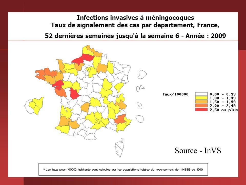 20 Infections invasives à méningocoques Taux de signalement des cas par departement, France, 52 dernières semaines jusqu'à la semaine 6 - Année : 2009