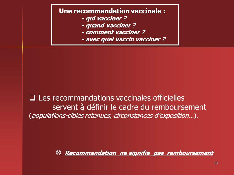 21 Les recommandations vaccinales officielles servent à définir le cadre du remboursement (populations-cibles retenues, circonstances dexposition…). R