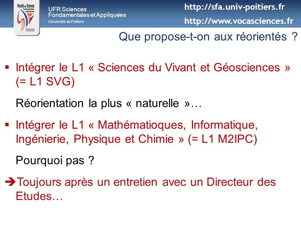 UFR Sciences Fondamentales et Appliquées Université de Poitiers Que propose-t-on aux réorientés ? Intégrer le L1 « Sciences du Vivant et Géosciences »