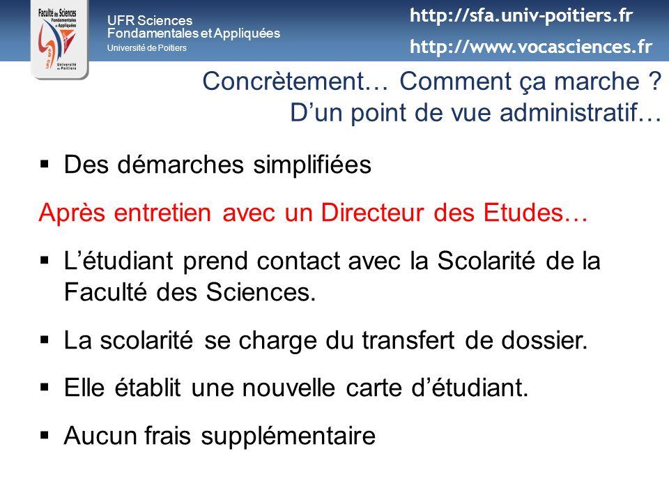 UFR Sciences Fondamentales et Appliquées Université de Poitiers Concrètement… Comment ça marche ? Dun point de vue administratif… Des démarches simpli