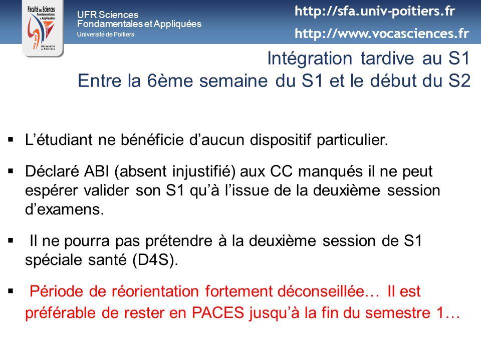 UFR Sciences Fondamentales et Appliquées Université de Poitiers Intégration tardive au S1 Entre la 6ème semaine du S1 et le début du S2 Létudiant ne b