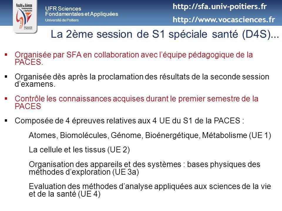 UFR Sciences Fondamentales et Appliquées Université de Poitiers La 2ème session de S1 spéciale santé (D4S)... Organisée par SFA en collaboration avec